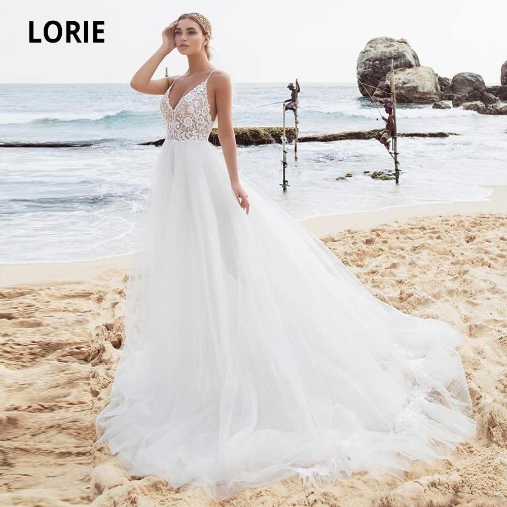 LORIE Beach Wedding Dresses Tulle Lace Appliques Bridal Gowns 2020 Spaghetti Straps Boho Princess Bride Dress Romantic Plus Size