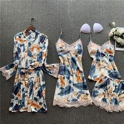 Conjunto de pijama de cuatro piezas de seda de verano, sexy Camisón con tirantes, conjunto de camisón de mujer, ropa de hogar estampada de manga larga