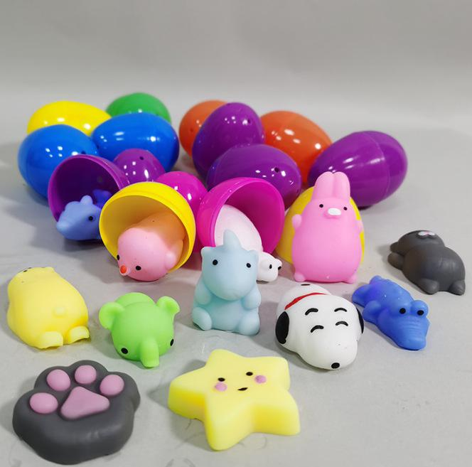 RCtown 12Pcs/set Easter Eggs Surprise Gacha Capsule Toy 2.5 Inch Pinch Doll Dinosaur Puppet Pull-back Car
