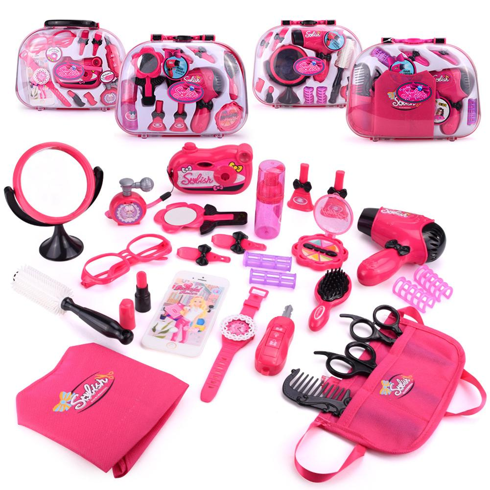 Pretend Play Kid Make Up Dryer Toys Pink Makeup Set Princess Hairdressing Simulation Plastic Toy For Girls Handbag Cosmetic