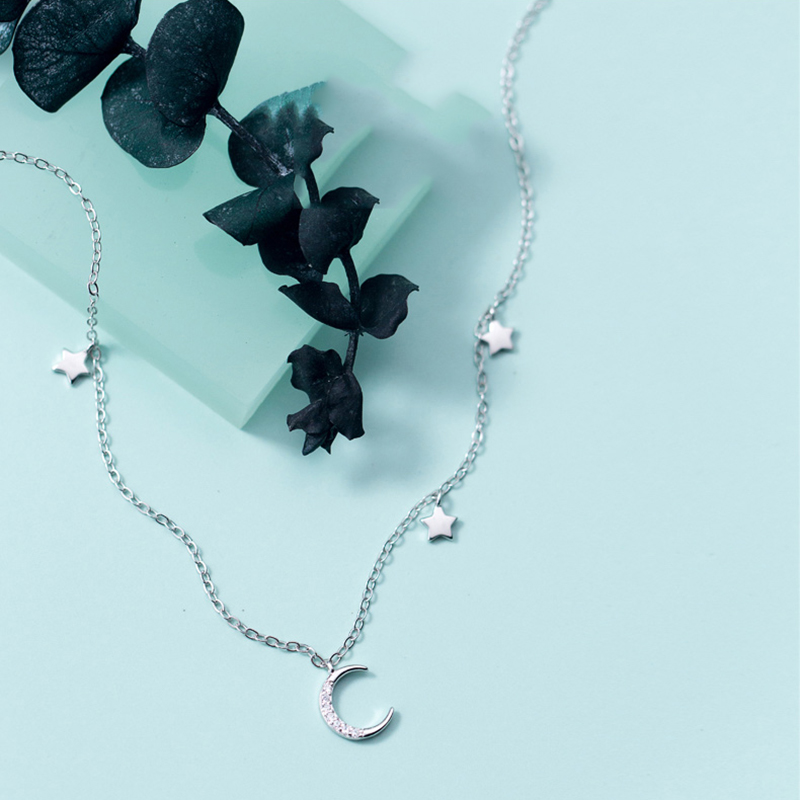 Herwish Origin Star and Moon Choker Link Chain 925 Sterling Silver Chocker Necklace Girlfriend Gift Cute Korean Women Jewelry in Choker Necklaces from Jewelry Accessories