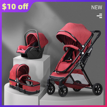 Baby Light Strollers 3 in 1 Care Luxury Baby Carriage Collapsible High Landview Kids Car High Quality 8 Gifts Travel System