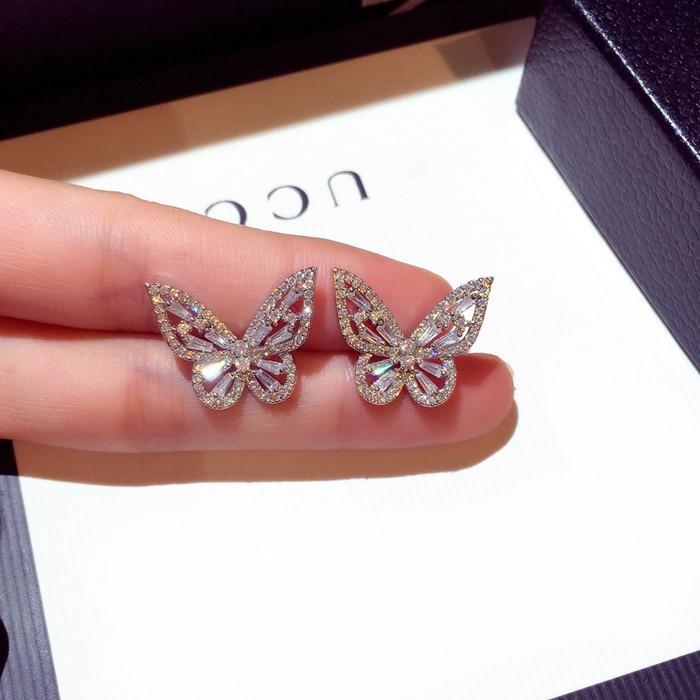 Full Zircon Butterfly Earrings Female Temperament Korean Personality Simple Wild Net Red Earrings 925 Tremella Earrings