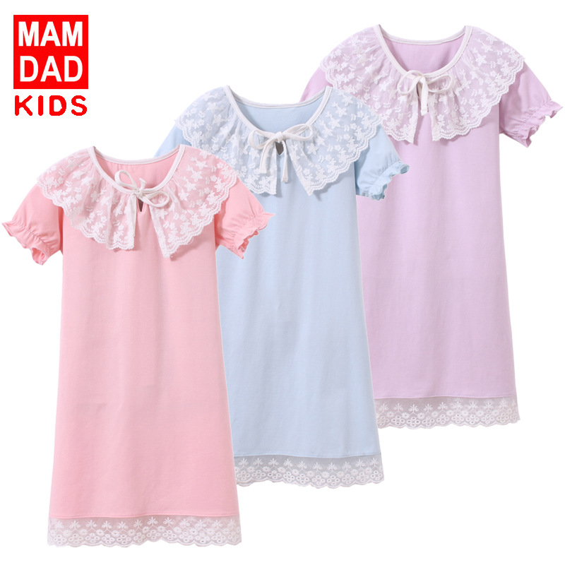 Nightgown Cotton Children Lace BAMAQIN GIRL'S Nightgown Baby Summer Pajamas Children Tracksuit Amoi