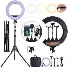 fosoto 18 Inch LED Ring Light Photographic Lighting 3200 5600K 80W Ring Lamp With Tripod Stand For Makeup Camera Phone Video