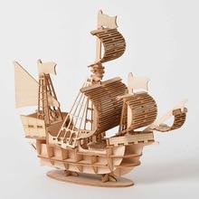 Fantazyjne DIY żaglowiec zabawki 3D drewniane Puzzle zabawki Model montażu drewna zestawy rzemieślnicze biurko dekoracji zabawki dla dzieci prezent dla dzieci