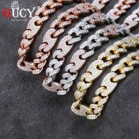 GUCY Miami locks Cuba link 12mm Wideth Gold And Silver Necklace Ice Out AAA Cubic Zircon Sparkling Hip Hop Male Jewelry