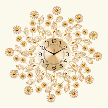 70x70cm Large 3D Gold Diamond Peacock Wall Clock Metal Watch for Home Living Room Decoration DIY Clocks Crafts Ornaments Gift