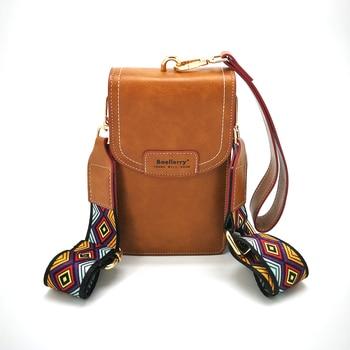 Baellerry Women's Shoulder Bag Luxury Leather Clutch Bright Gold Buttons Cards Phone Holder Color Shoulder Strap Billetera Mujer 1