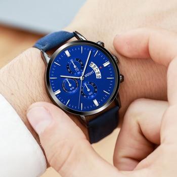 2019 relogio masculino watches men Fashion Sport Stainless Steel Case Leather Band watch Quartz Business Wristwatch reloj hombre цена 2017