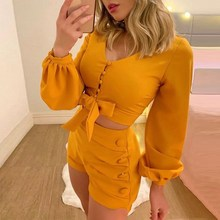 2019 Autumn Women Lantern Sleeve Buttoned Top And Short Sets Casual Female Long Sleeve Lace Up Shirts 2 Piece Outfits цена 2017