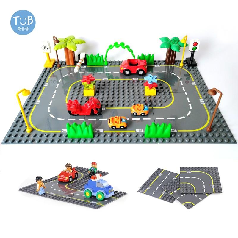 Estrada estrada baseplate com tijolo série cidade rua base placa grande blocos de construção montado brinquedos educativos crianças presente