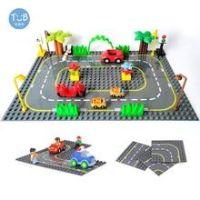Estrada estrada baseplate com duplie série cidade rua base placa grande blocos de construção montado brinquedos educativos crianças presente