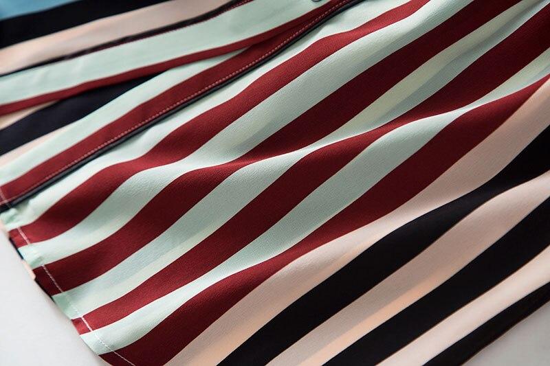 2020 nuevo vestido de camisa de seda de peso pesado a la moda moderno con estampado de rayas de manga larga con lazo en la cintura ol - 6