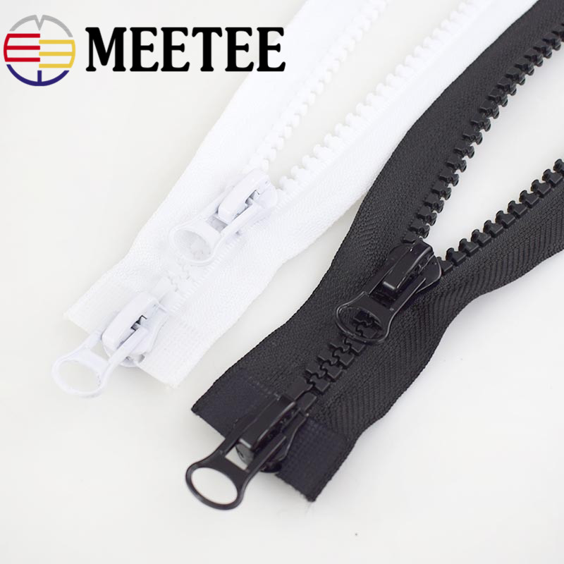 Meetee 5 #60-300 cm plástico resina zíper preto branco duplo slider aberto final zip para diy costura casaco roupas tenda acessórios