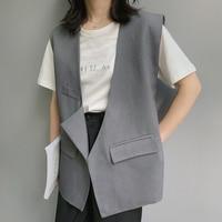 Autumn New 2019 Casual Office Lady Vest Women Coat Broadcloth Cotton V Neck Pockets Cardigan Sleeveless Blazer Solid Waistcoat