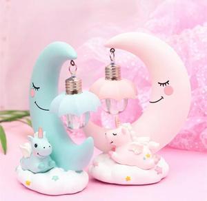 Детская светящаяся игрушка, украшение, светодиодный мультяшный ночник, светильник с изображением единорога, луна, детская комната, лампы ди...
