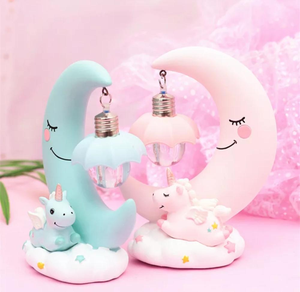 Children's Luminous Toy Decoration LED Cartoon Night light Unicorn moon light children baby room display lamps girls cute gifts