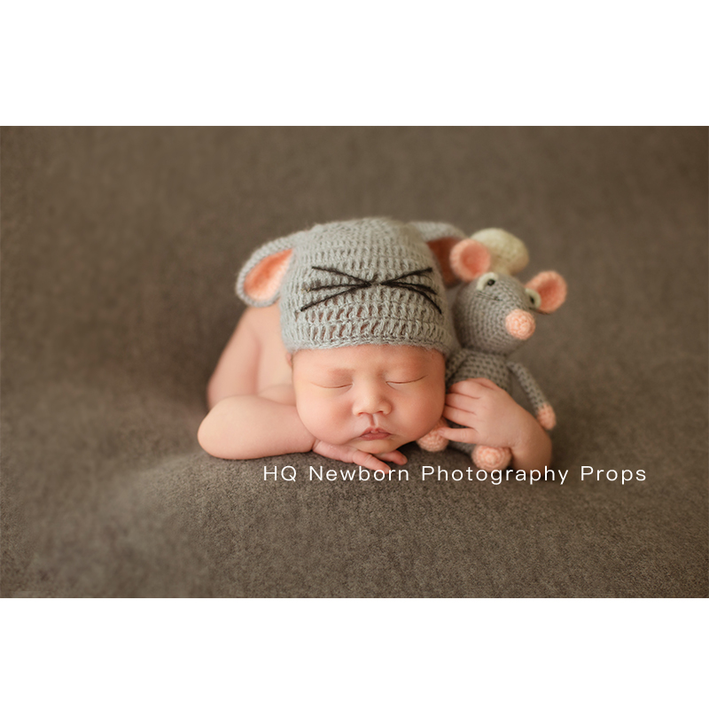 2020 Handmade Newborn Photography Mouse And Hat Set Baby Photoshooting Props Knit Hat Infant Photo Studio  Accessories