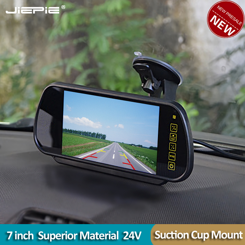 JIEPIE Car 7 Inch Rear View Mirror Monitor Rear View Camera Kit With HD Waterproof  Reverse Parking Camera For Cars,Van,SUV
