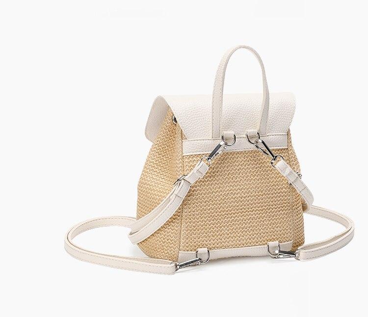 praia moda mão-tecido palha pequena mochila feminina férias bolsa de ombro