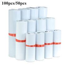100 pçs/lote branco saco de correio expresso envelope sacos de armazenamento sacos de correio auto adesivo selo pe plástico bolsa embalagem 8 tamanhos