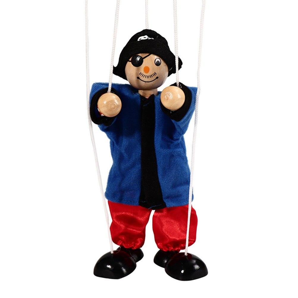 Couleur aléatoire en bois Pirate chaîne marionnette enfants en bois marionnette jouets marionnette poupée Parent-enfant jouets interactifs
