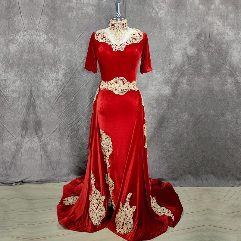 Eightale арабский вечернее платье с расширенным съемным подолом, настоящая фотография аппликации Марокко кафтан Русалка красное вельветовое для выпускного вечера вечерние платья|Вечерние платья| | АлиЭкспресс