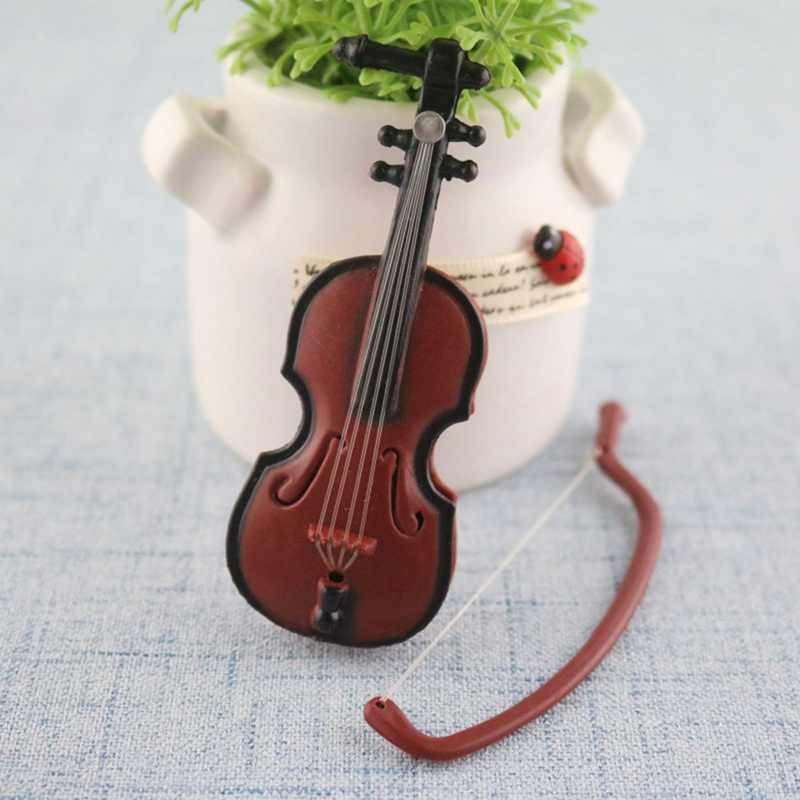 1Pc instrumento de música accesorios diy para muñecas de madera violín con el caso de soporte de plástico Mini violín casa artesanía