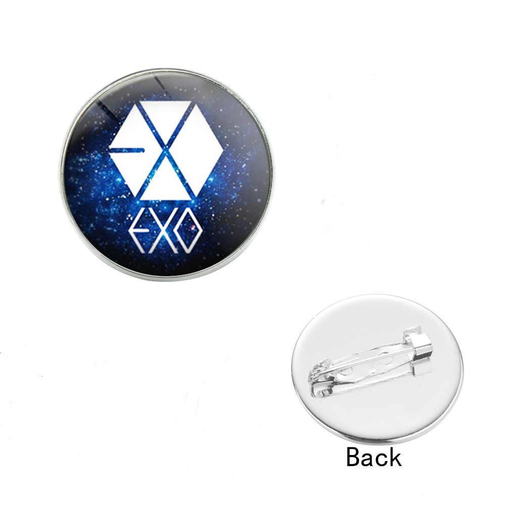 Harajuku EXO odznaka broszka Hip Hop muzyka piosenkarka Kpop męska drużyna szkło Cabochon broszki kołnierz płaszcza szpilki dla miłośnicy muzyki