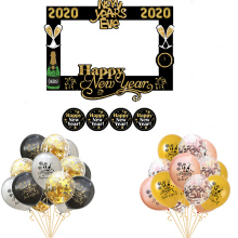 Happy New Year 2020 Photo Booth Frame Props Birthday Party  Decoration Latex Balloons Label Stickers