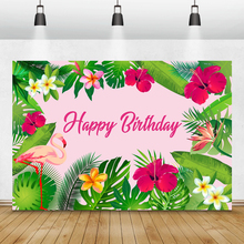 Laeacco Happy Birthday Photography Backgrounds Tropical Green Leaves Flowers Flamingo Baby Shower Backdrops For Photo Studio