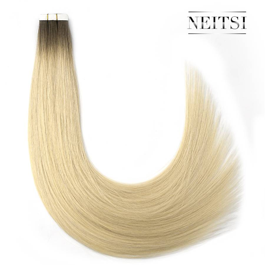 Neitsi Remy Tape In Human Hair Extensions Double Drawn Adhesive Straight Invisible Hair 20