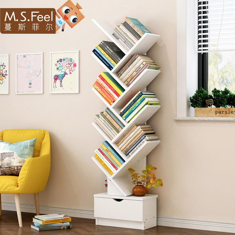 Man Patriarch Bookshelf Floor Minimalist Modern Storage Shelf Bookcase Floor Bookshelf Small Bookcase Creative Simplicity Shelf