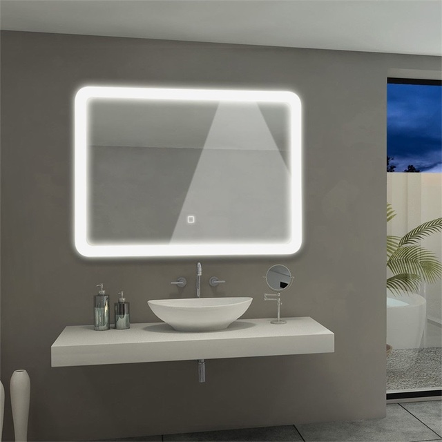 Energy Saving LED Wall Mounted Bathroom Rounded Arc Corner Touch Button Control Mirror Sturdy Aluminum Construction
