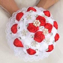 WifeLai EINE 1 Stück Luxus Weiß Rot Rose Blumen Spitze Brosche Braut Bouquets Diamanten Stich Hochzeit Dekoration Bouquets W2281