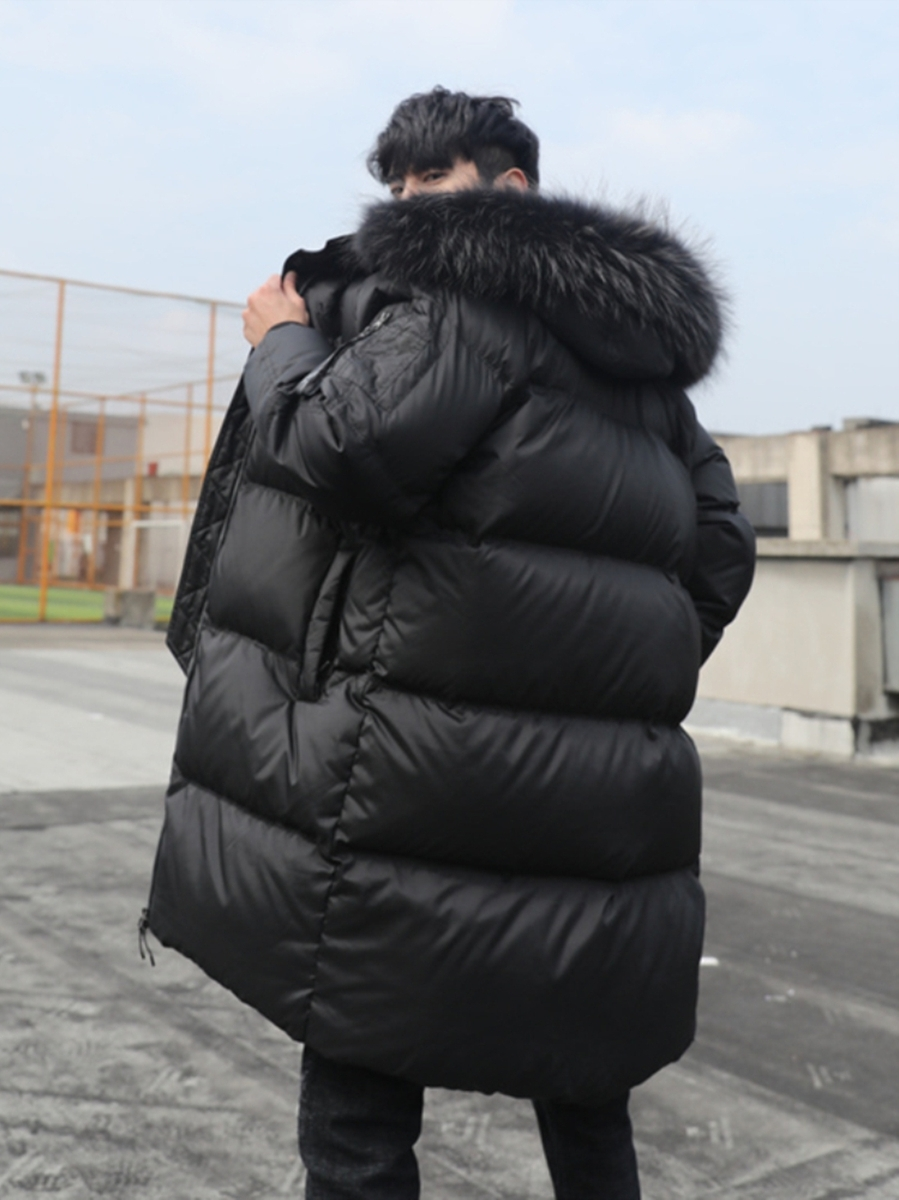 Streetwear Real Raccoon Fur Hodded Jacket Men Winter Duck Down Coat Clothes 2019 Korean Warm Fashion Down Parkas LW2307
