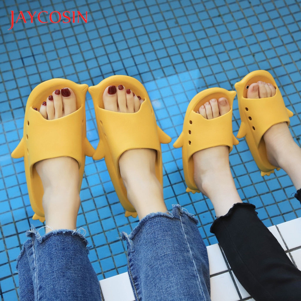 JAYCOSIN 2020 Women Summer Beach Slippers Parent-Child Couples Cute Funny Cartoon Flat Slippers Shoes Non-Slip Pool Slippers 44 1