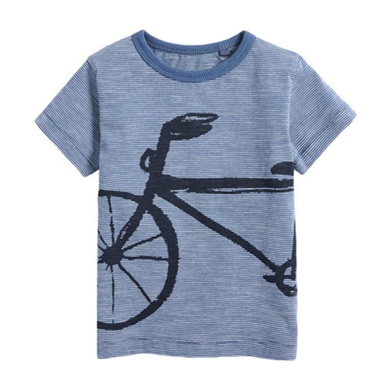 Little Maven 2020 New Summer Baby Kids Boy Bike Short Sleeve O-neck T Shirt Cartoon Rocket Blue Tee Tops For 1-7 Years Boys