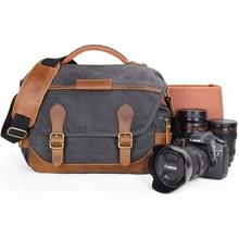בציר רטרו עמיד למים מצלמה בטיק בד צילום כתף מזדמן שליח תמונה גברים נשים תיק עבור Canon Nikon Sony DSLR