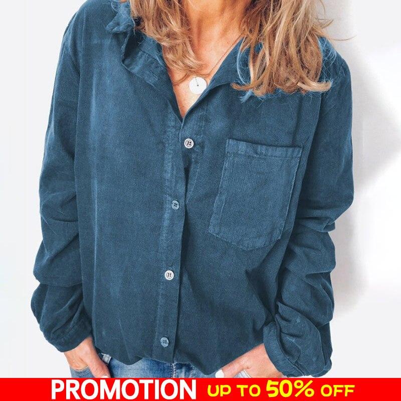 Corduroy   Shirt     Blouse   Women Long Sleeve Turn Down Collar Loose   Shirts   For Woman Button   Shirt   Female Tops Fashion Women   Blouse