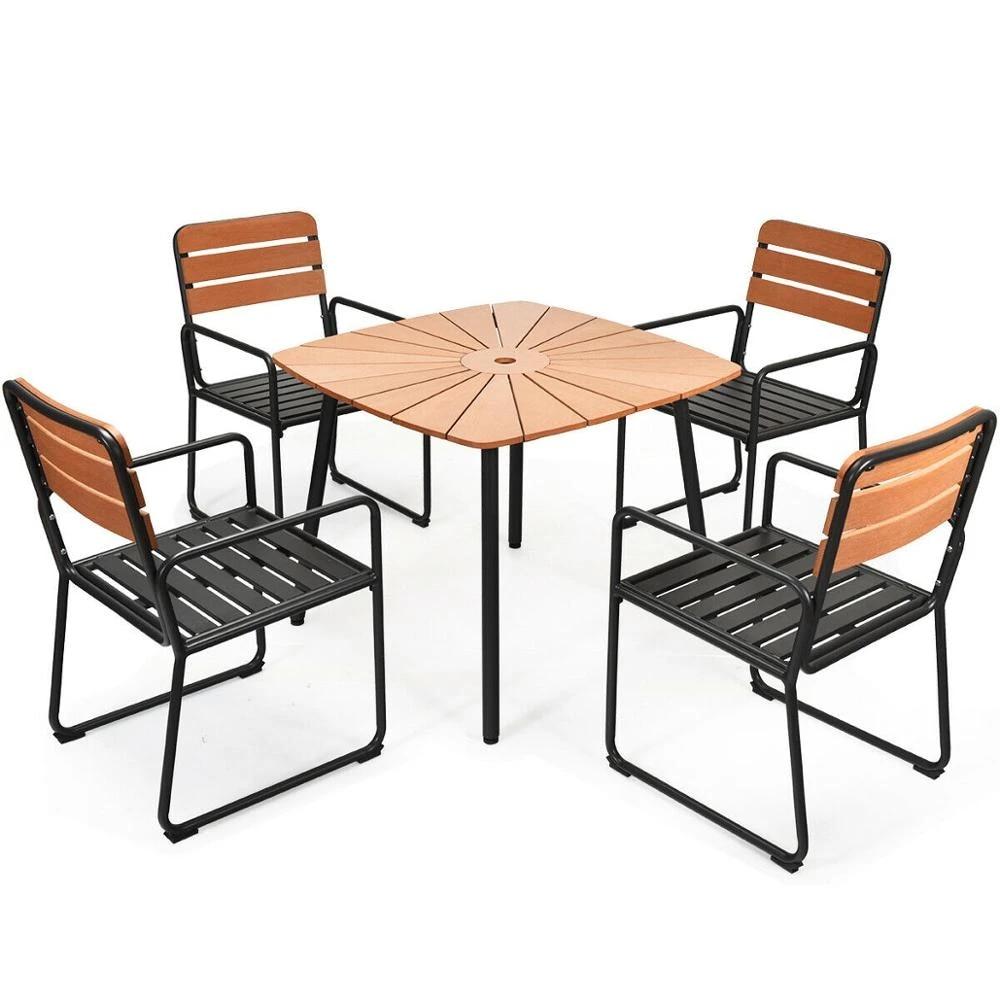 5pcs outdoor patio dining table set aluminium frame armrest umbrella hole garden hw65844