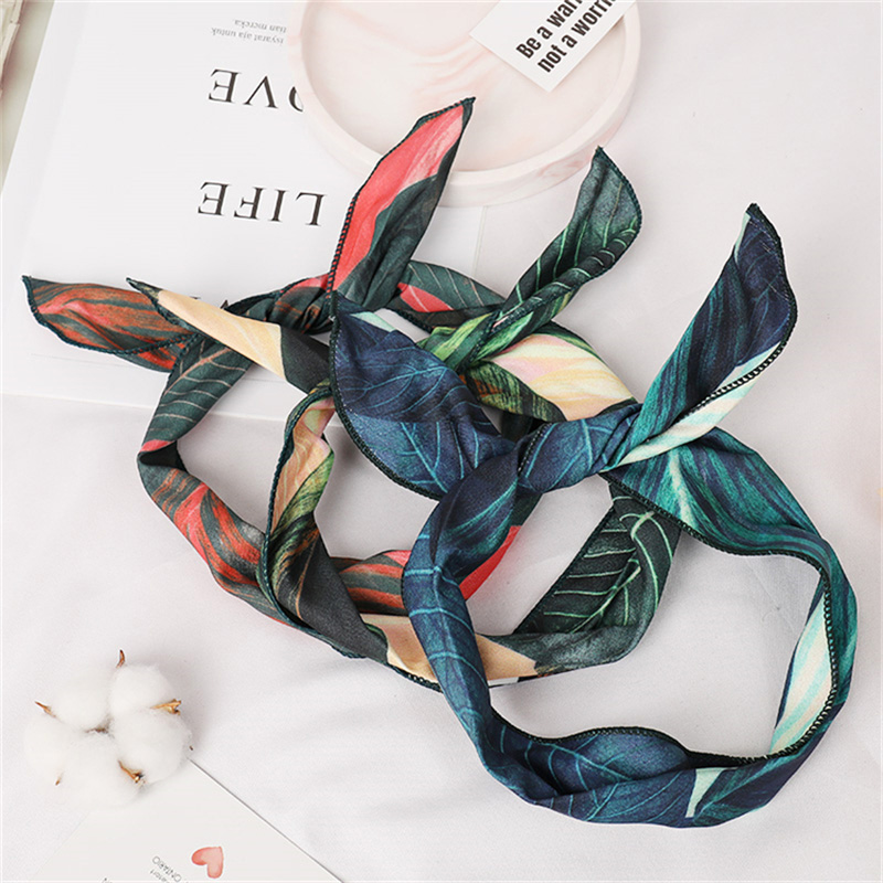 Summer Bohemian Print Leaves Hairbands Elastic Headbands For Women Retro Cross Knot Turban Bandanas Hair Bands Hair Accessories