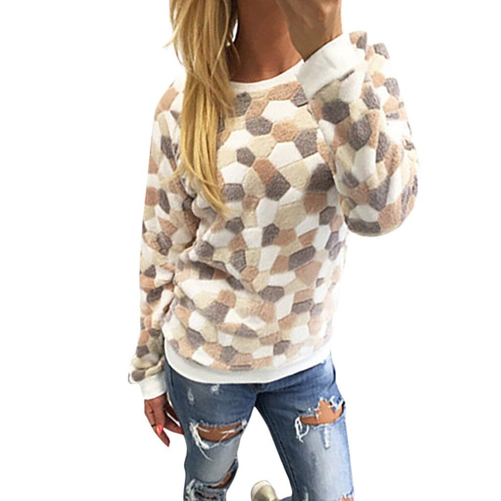 Nova camisola feminina pulôver moda casual o-pescoço manga longa pedra impresso topos sueter mujer invierno roupas de inverno