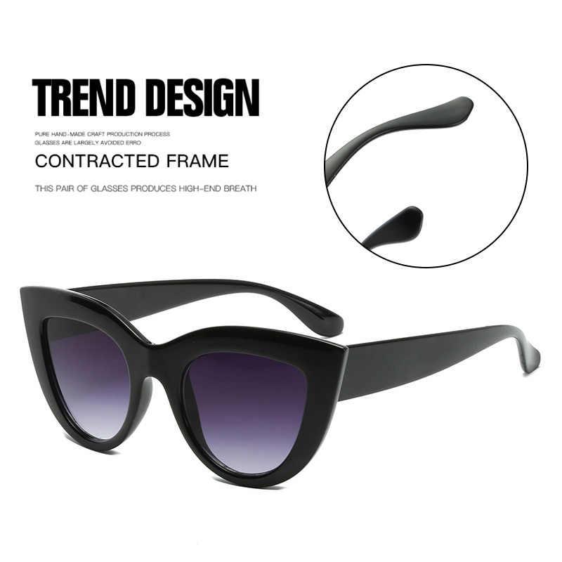 สีดำคลาสสิก CAT EYE แว่นตากันแดดผู้หญิง Designer ยี่ห้อสไตล์เทรนด์แว่นตาผู้ใหญ่แว่นตา