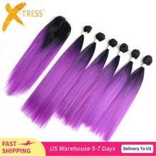 オンブル紫赤色髪のバンドルにレースクロージャー14 18インチX TRESS焼きストレート合成バンドルヘアウィービング延長