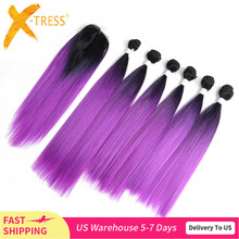 Ombre Purple Red Color Hair Bundles With Lace Closure 14 18inch X TRESS Yaki Straight Synthetic Bundle Hair Weaving Extensions