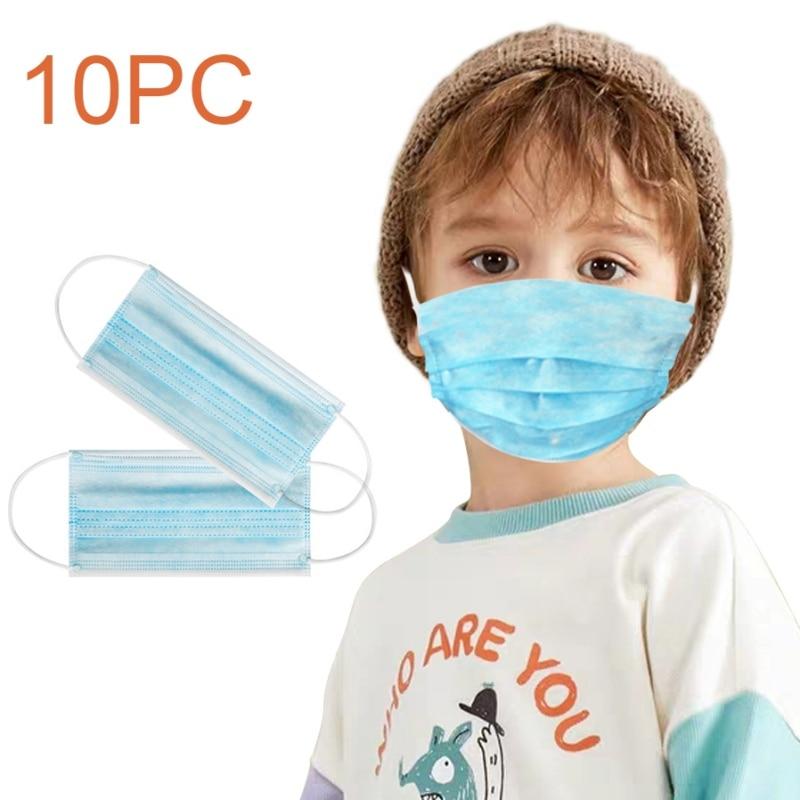От 0 до 10 лет Детская одноразовая маска Nonwove 3-слойный фильтр для рта маска для лица Пылезащитная маска для рта