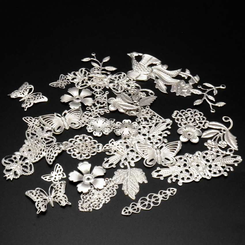 Free Shipping! 30Pcs Silver Color Mixed Metal Filigree Wraps Connectors Metal Crafts Gift Decoration DIY Jewelry