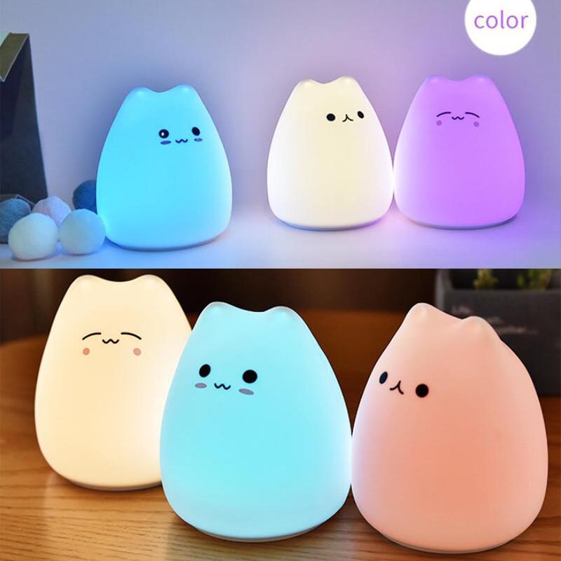 Christmas Gift Light Mini Cute Cartoon Cat Shaped Pat Light Lamp Soft Silicone Nightlight For Kids Toys Room Decor Bedroom Lamp